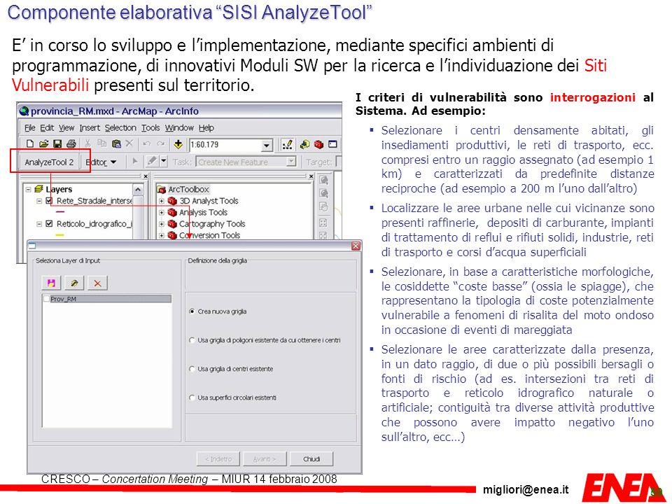 Componente elaborativa SISI AnalyzeTool