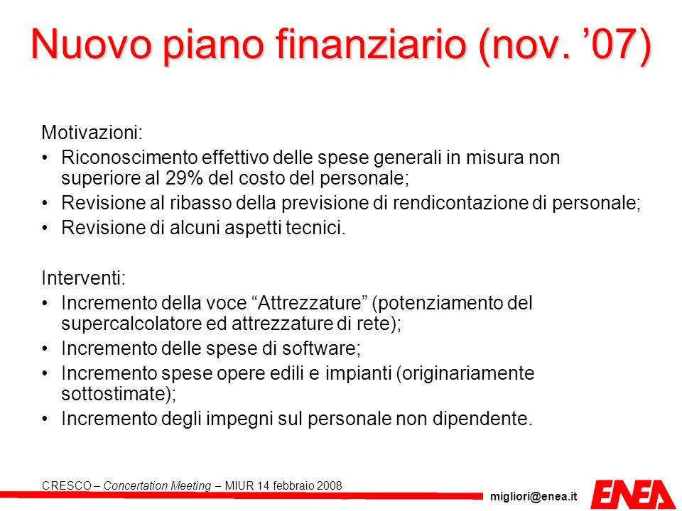 Nuovo piano finanziario (nov. '07)