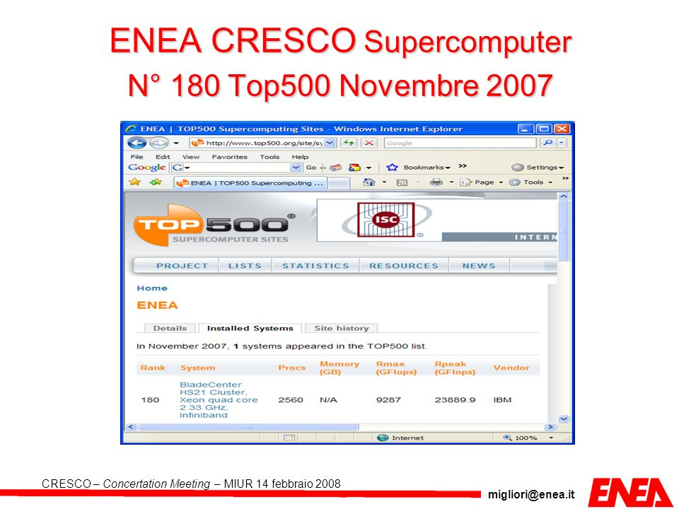 ENEA CRESCO Supercomputer N° 180 Top500 Novembre 2007