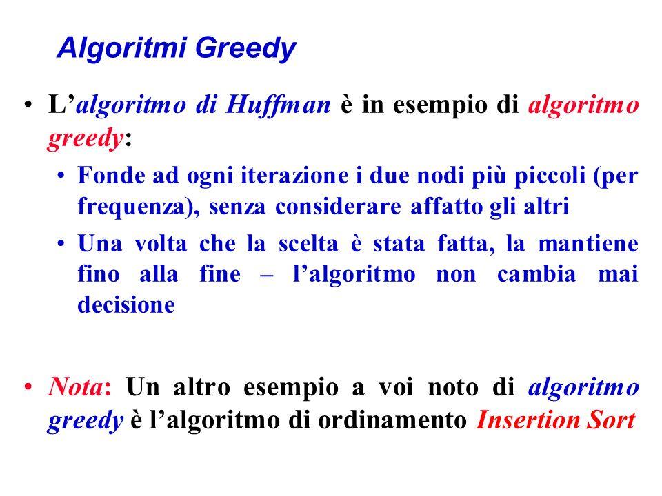 Algoritmi Greedy L'algoritmo di Huffman è in esempio di algoritmo greedy: