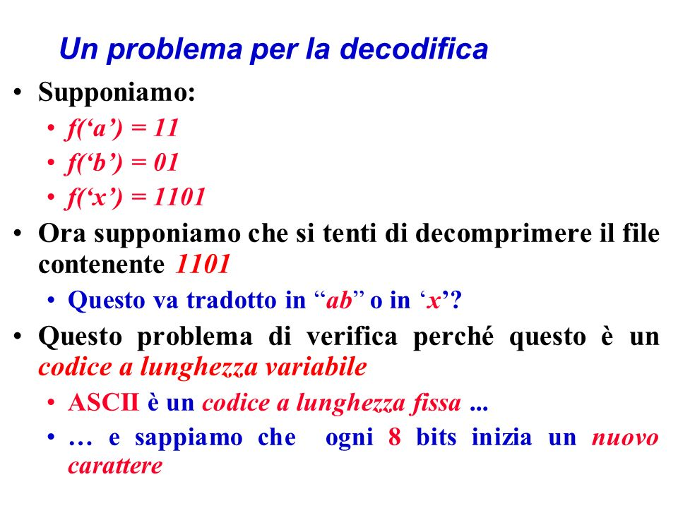 Un problema per la decodifica