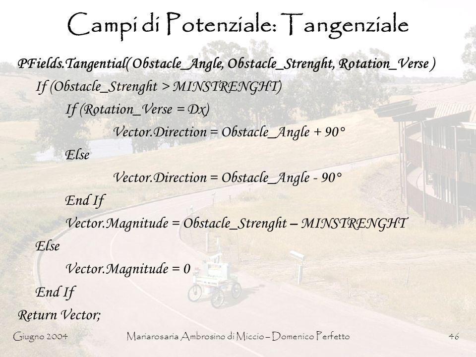 Campi di Potenziale: Tangenziale