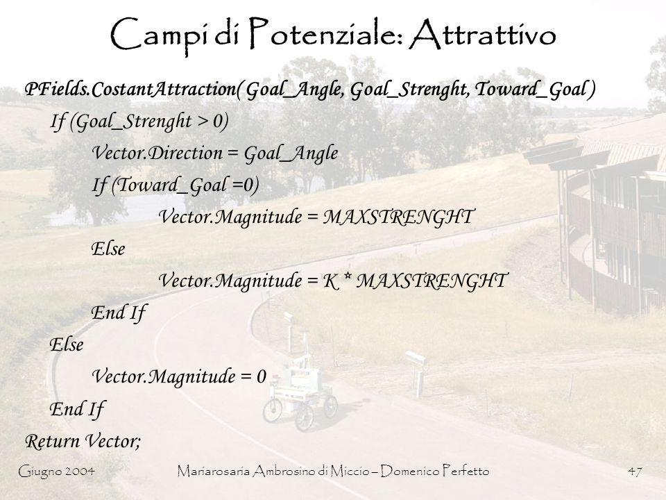 Campi di Potenziale: Attrattivo