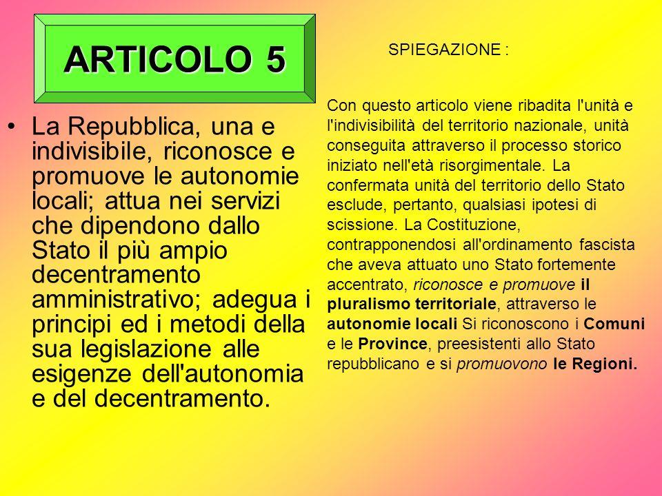 ARTICOLO 5 SPIEGAZIONE :