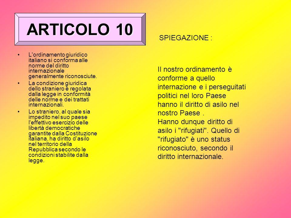 ARTICOLO 10 SPIEGAZIONE :