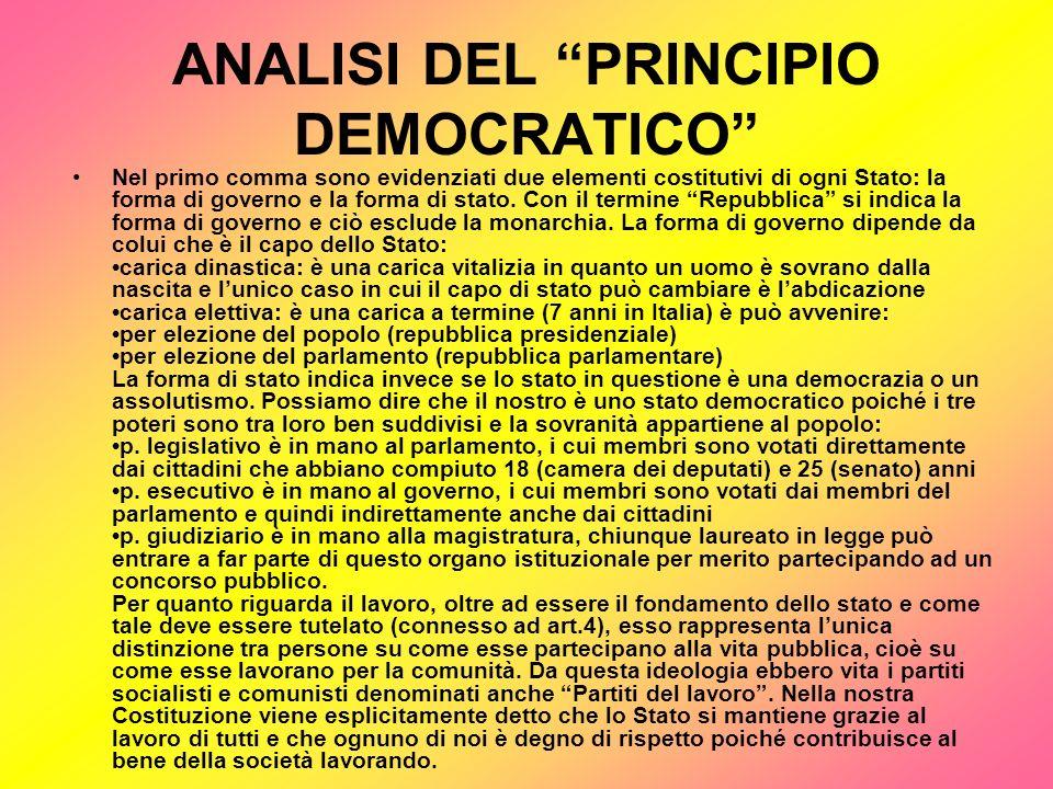 ANALISI DEL PRINCIPIO DEMOCRATICO