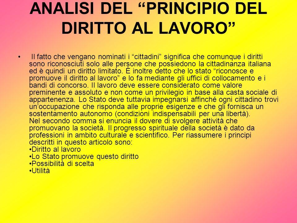 ANALISI DEL PRINCIPIO DEL DIRITTO AL LAVORO