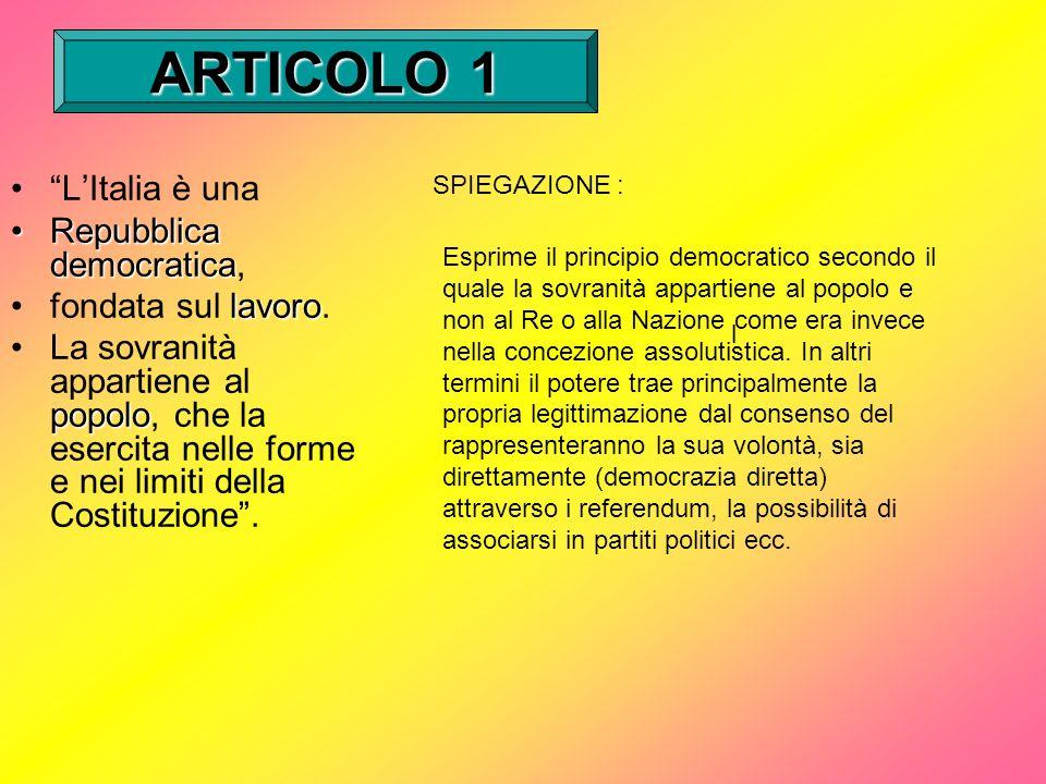 ARTICOLO 1 L'Italia è una Repubblica democratica, fondata sul lavoro.