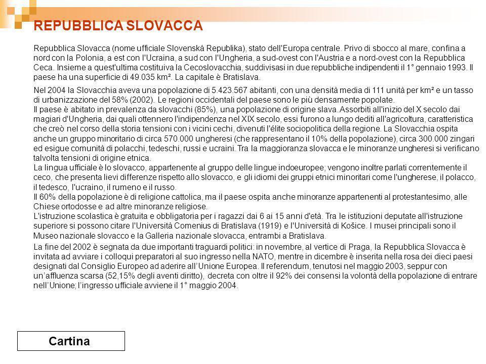 REPUBBLICA SLOVACCA Cartina