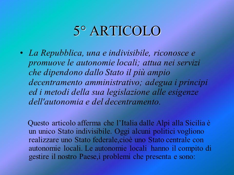 5° ARTICOLO