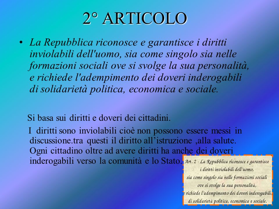 2° ARTICOLO