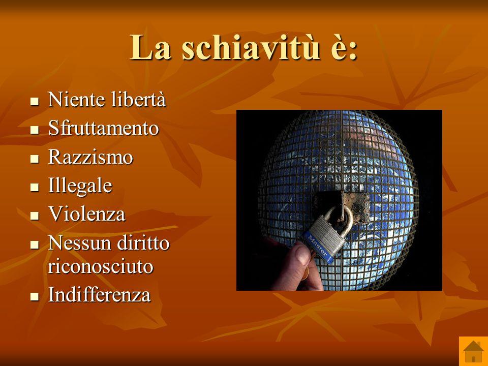 La schiavitù è: Niente libertà Sfruttamento Razzismo Illegale Violenza