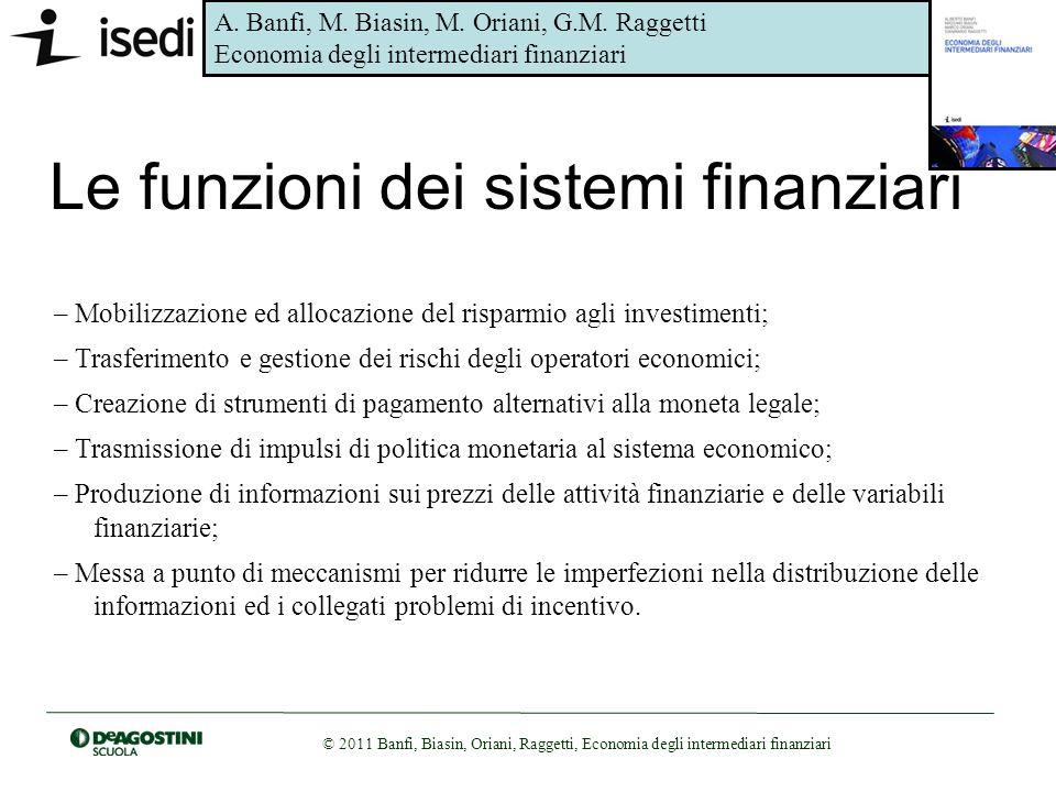 Le funzioni dei sistemi finanziari