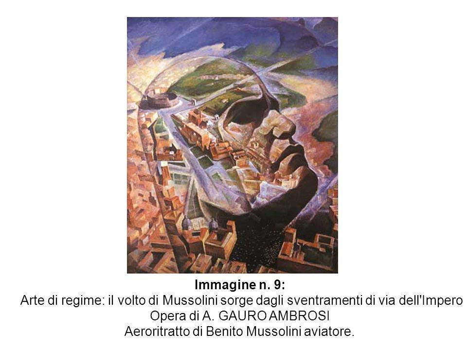 Opera di A. GAURO AMBROSI Aeroritratto di Benito Mussolini aviatore.