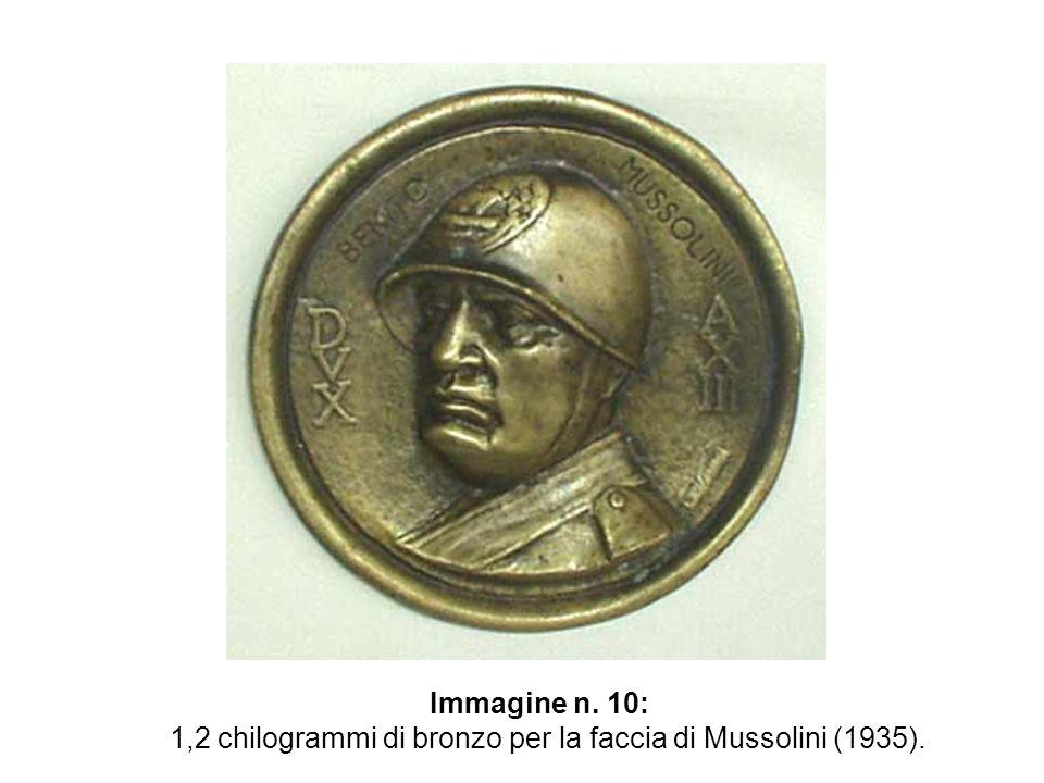 1,2 chilogrammi di bronzo per la faccia di Mussolini (1935).
