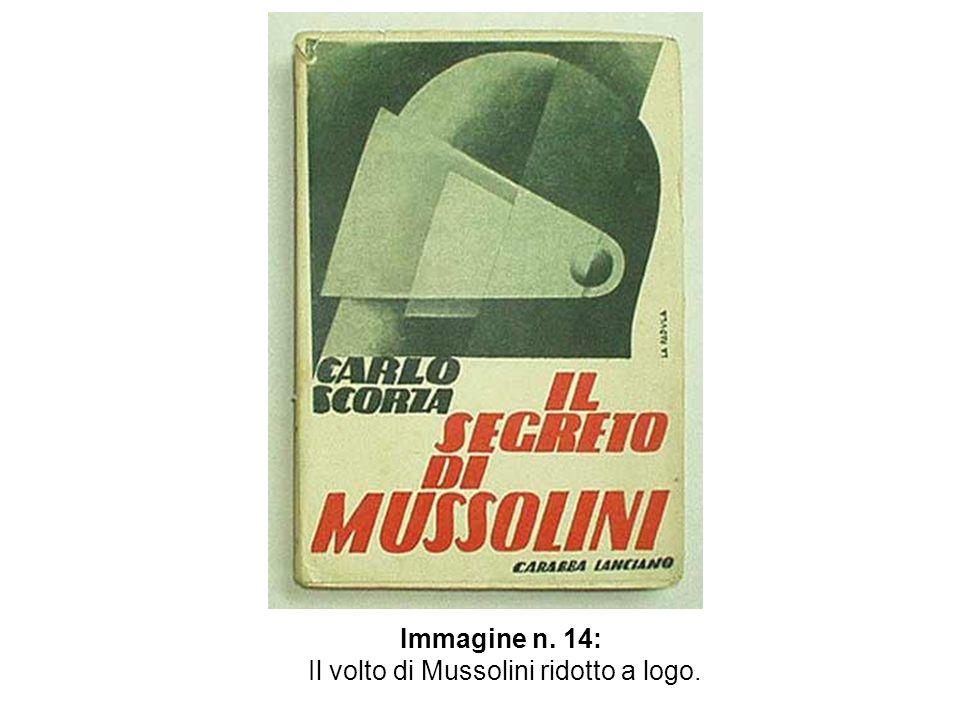 Il volto di Mussolini ridotto a logo.