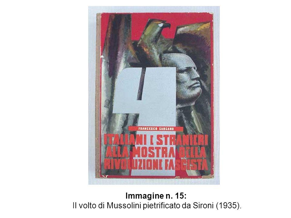 Il volto di Mussolini pietrificato da Sironi (1935).