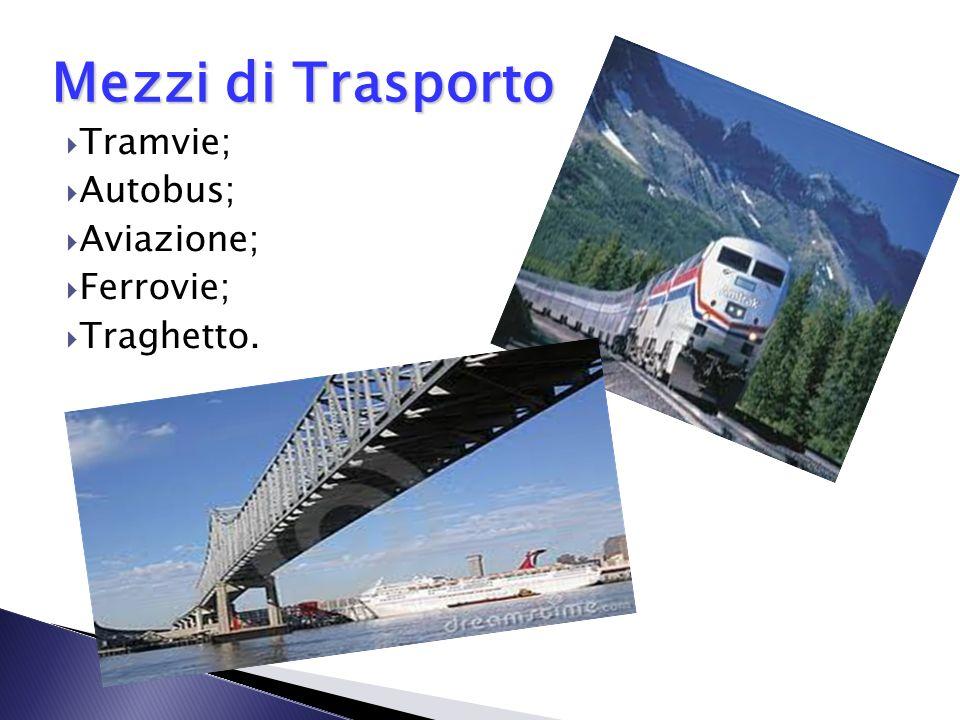 Mezzi di Trasporto Tramvie; Autobus; Aviazione; Ferrovie; Traghetto.