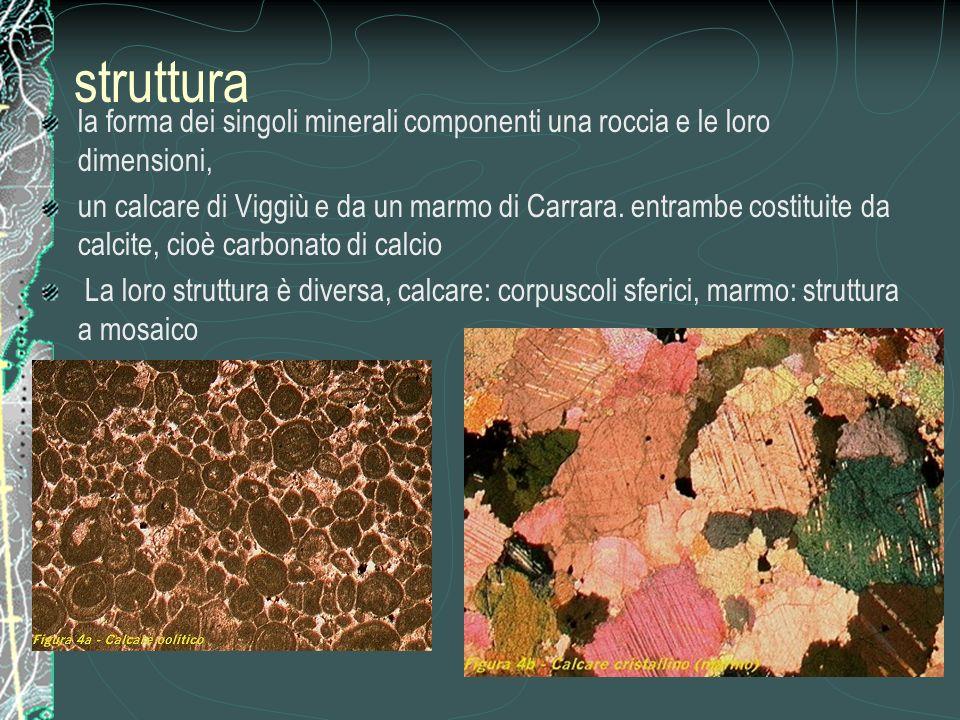 struttura la forma dei singoli minerali componenti una roccia e le loro dimensioni,