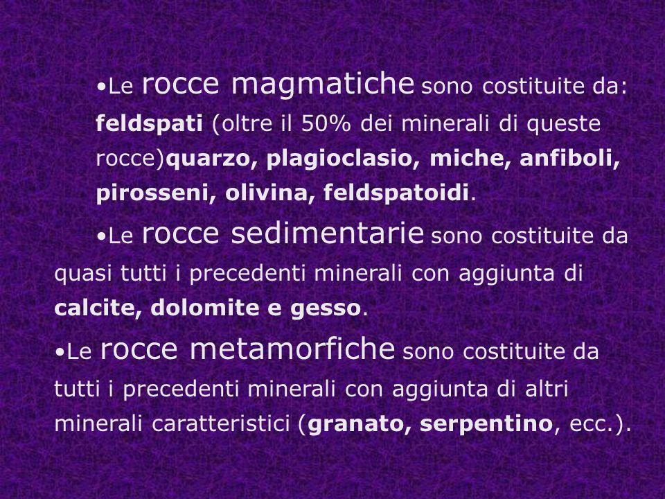 Le rocce magmatiche sono costituite da: feldspati (oltre il 50% dei minerali di queste rocce)quarzo, plagioclasio, miche, anfiboli, pirosseni, olivina, feldspatoidi.