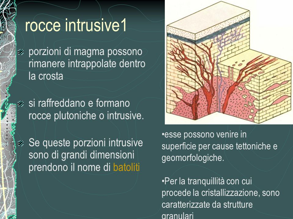 rocce intrusive1 porzioni di magma possono rimanere intrappolate dentro la crosta. si raffreddano e formano rocce plutoniche o intrusive.