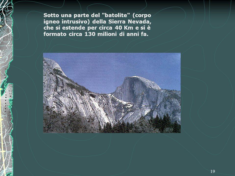 Sotto una parte del batolite (corpo igneo intrusivo) della Sierra Nevada, che si estende per circa 40 Km e si è formato circa 130 milioni di anni fa.