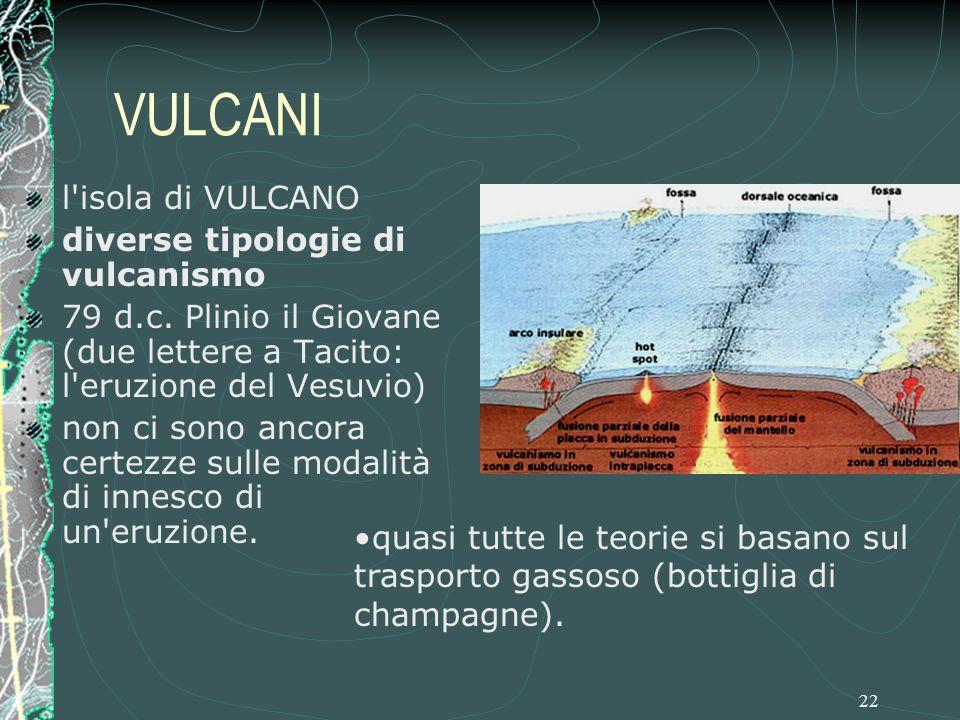 VULCANI l isola di VULCANO diverse tipologie di vulcanismo