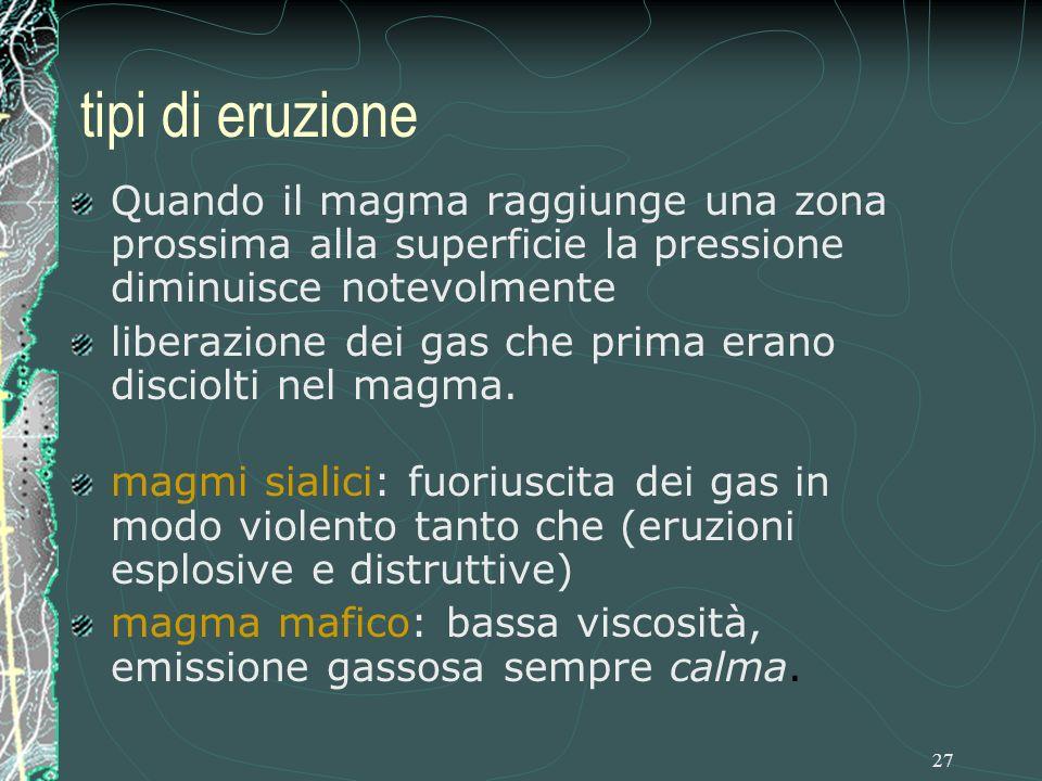 tipi di eruzione Quando il magma raggiunge una zona prossima alla superficie la pressione diminuisce notevolmente.