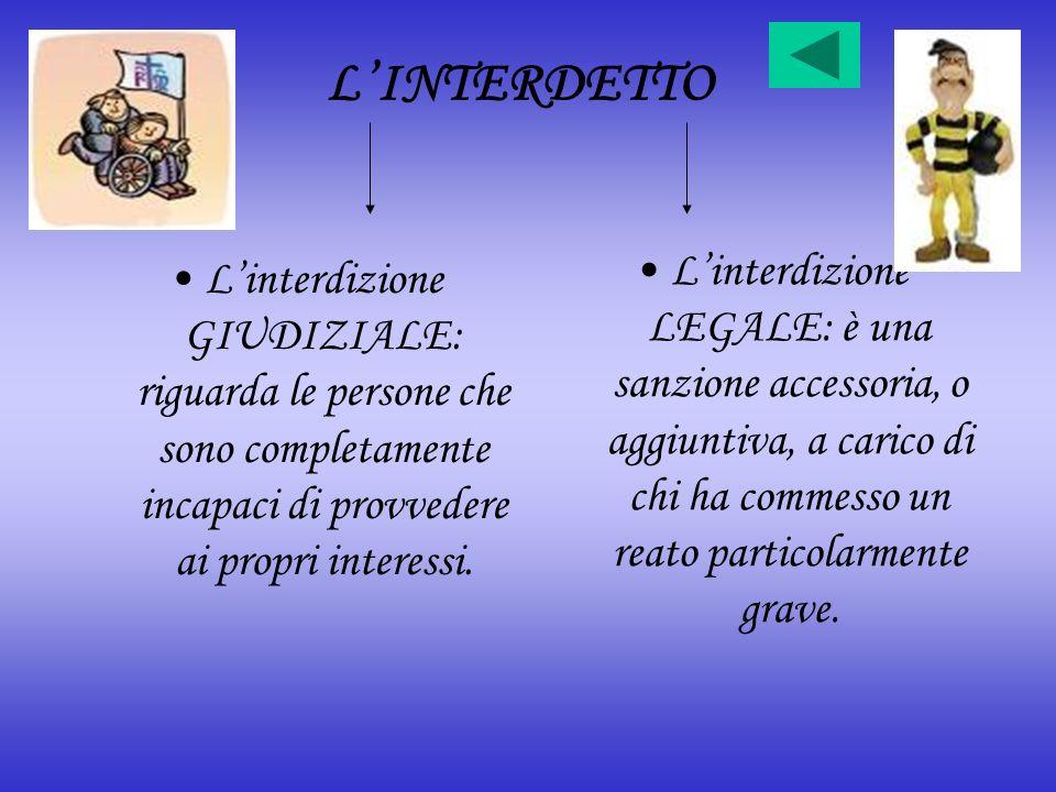 L'INTERDETTO L'interdizione LEGALE: è una sanzione accessoria, o aggiuntiva, a carico di chi ha commesso un reato particolarmente grave.