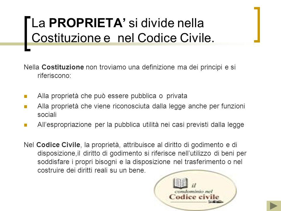 La PROPRIETA' si divide nella Costituzione e nel Codice Civile.