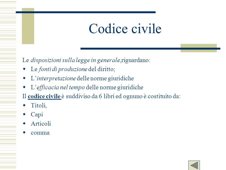 Codice civile Le disposizioni sulla legge in generale,riguardano: