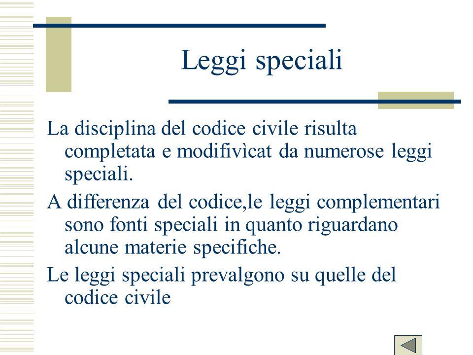 Leggi specialiLa disciplina del codice civile risulta completata e modifivìcat da numerose leggi speciali.
