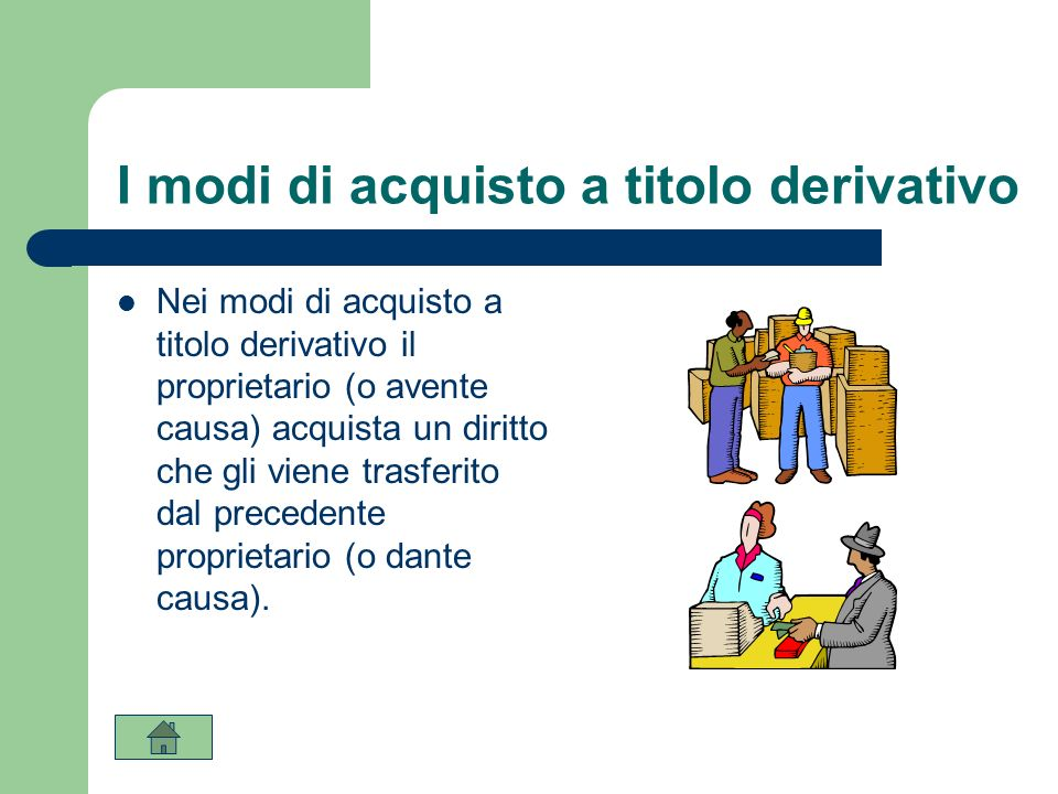 I modi di acquisto a titolo derivativo