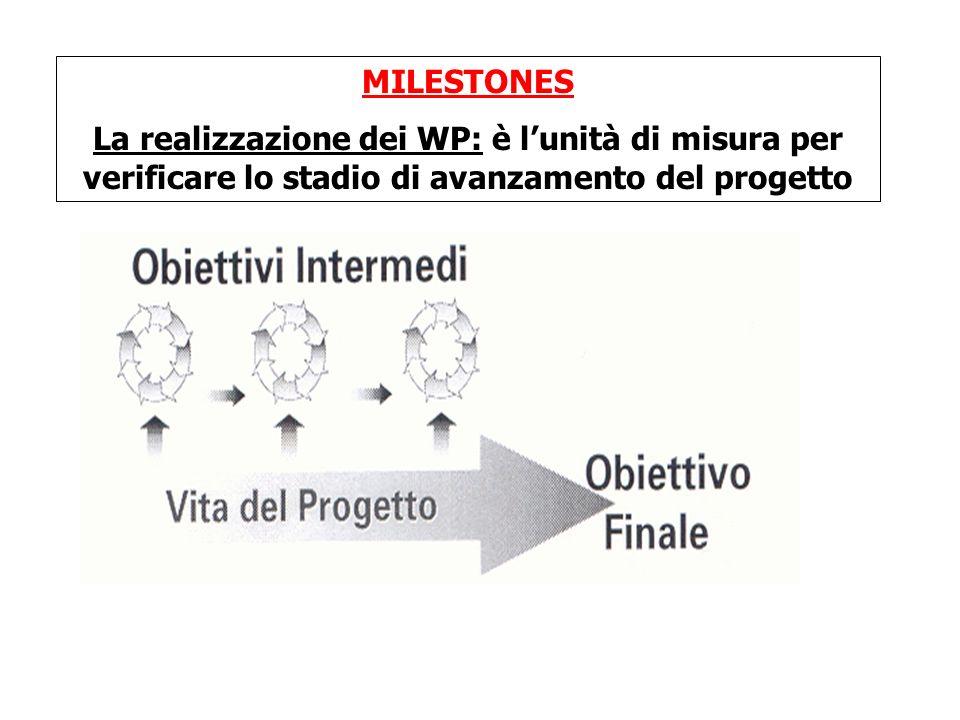 MILESTONES La realizzazione dei WP: è l'unità di misura per verificare lo stadio di avanzamento del progetto.