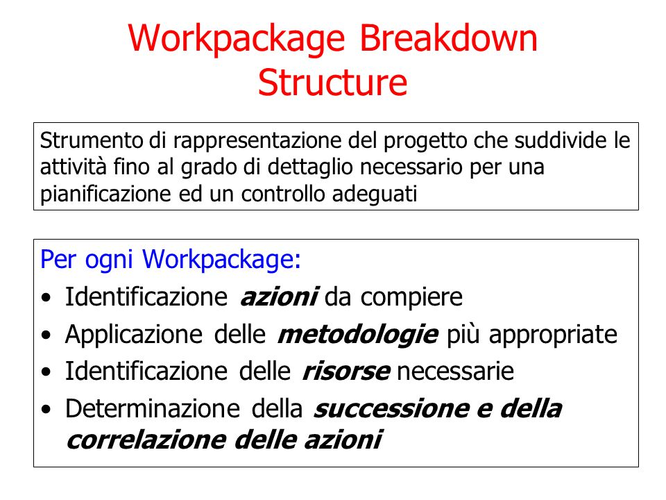 Workpackage Breakdown Structure