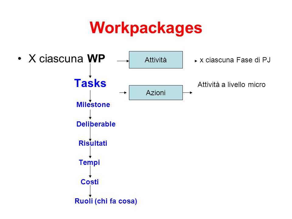 Workpackages X ciascuna WP x ciascuna Fase di PJ