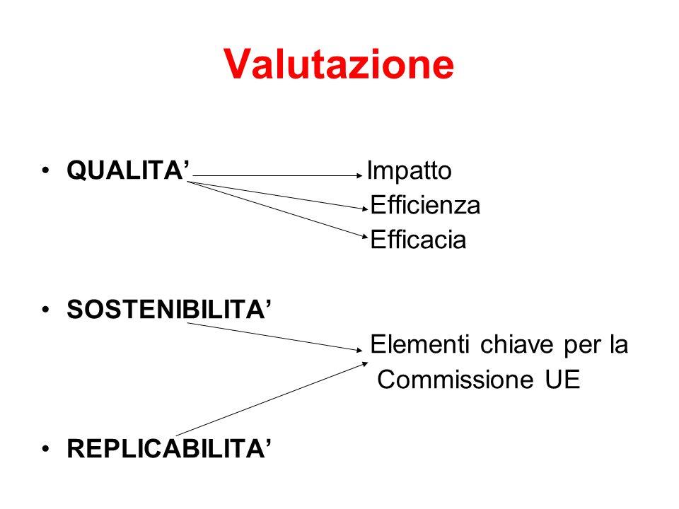 Valutazione QUALITA' Impatto Efficienza Efficacia SOSTENIBILITA'