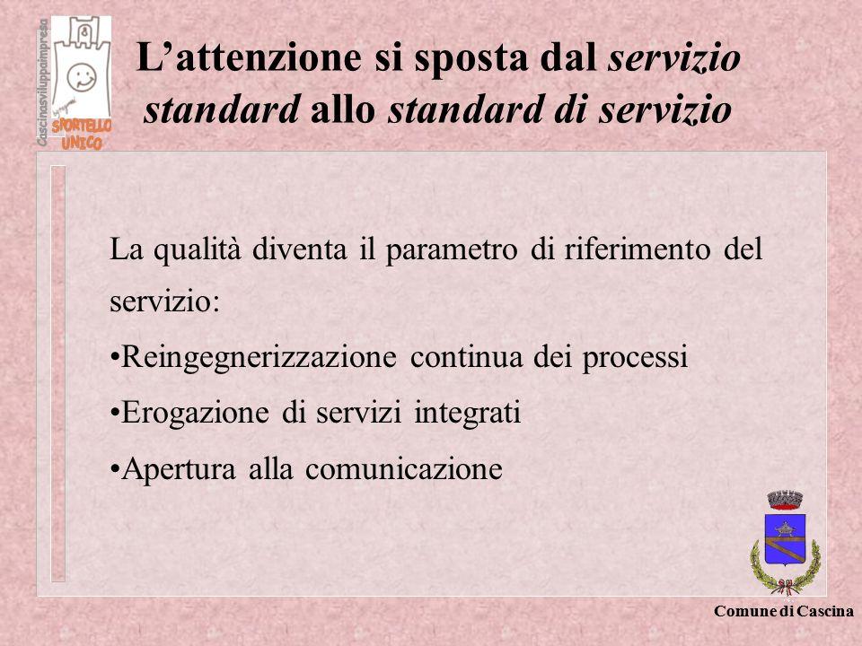 L'attenzione si sposta dal servizio standard allo standard di servizio