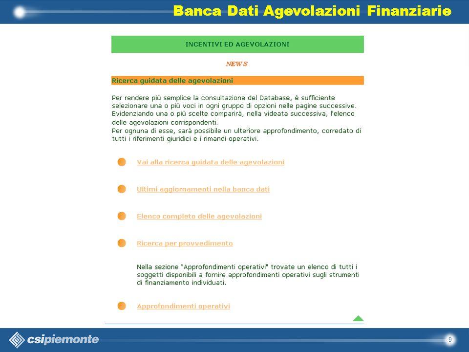 Banca Dati Agevolazioni Finanziarie