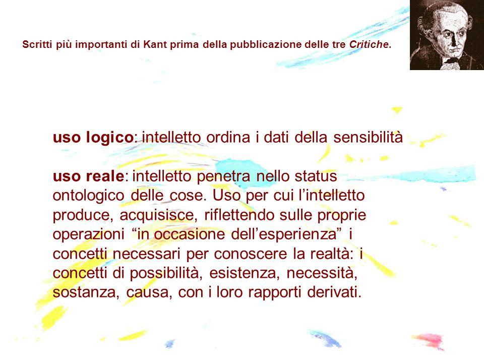 uso logico: intelletto ordina i dati della sensibilità