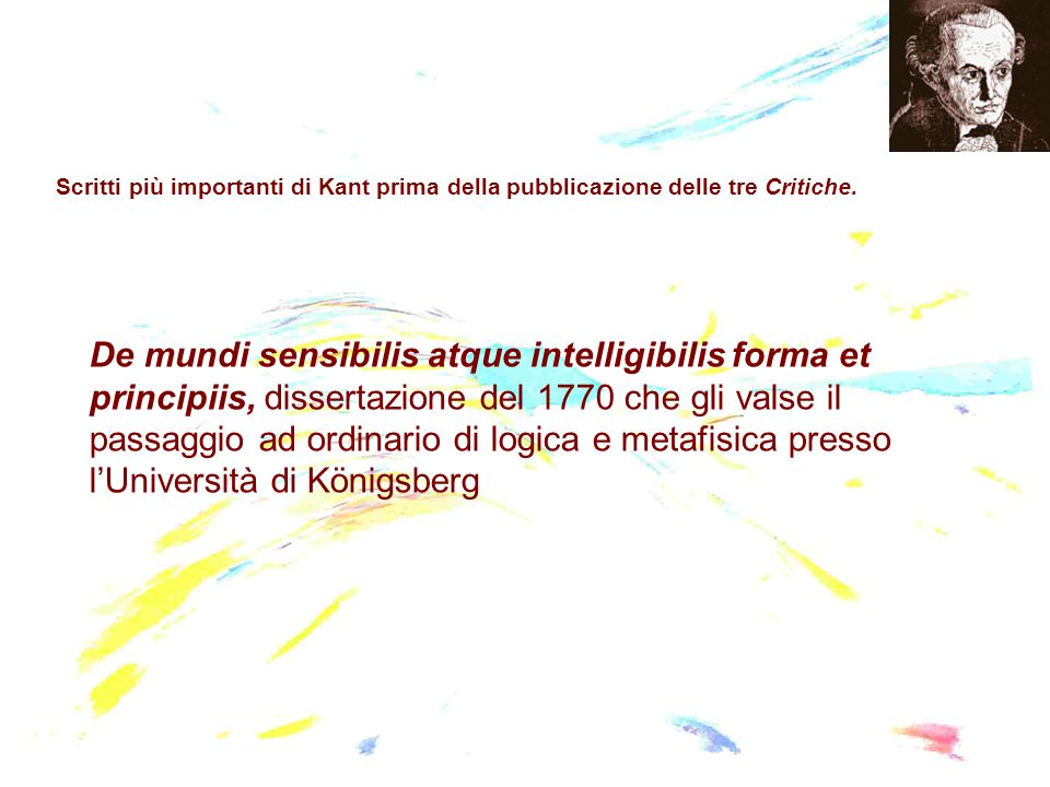 Scritti più importanti di Kant prima della pubblicazione delle tre Critiche.