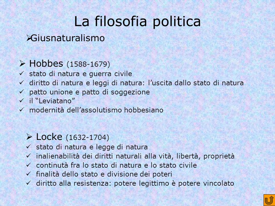 La filosofia politica Giusnaturalismo Hobbes (1588-1679)