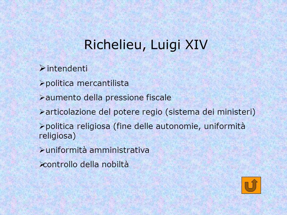 Richelieu, Luigi XIV intendenti politica mercantilista