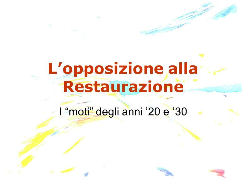 L'opposizione alla Restaurazione