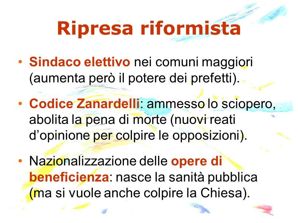 Ripresa riformista Sindaco elettivo nei comuni maggiori (aumenta però il potere dei prefetti).