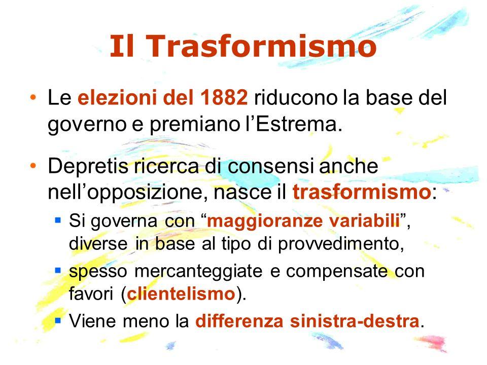 Il Trasformismo Le elezioni del 1882 riducono la base del governo e premiano l'Estrema.