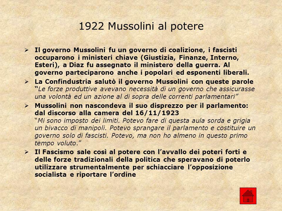 1922 Mussolini al potere