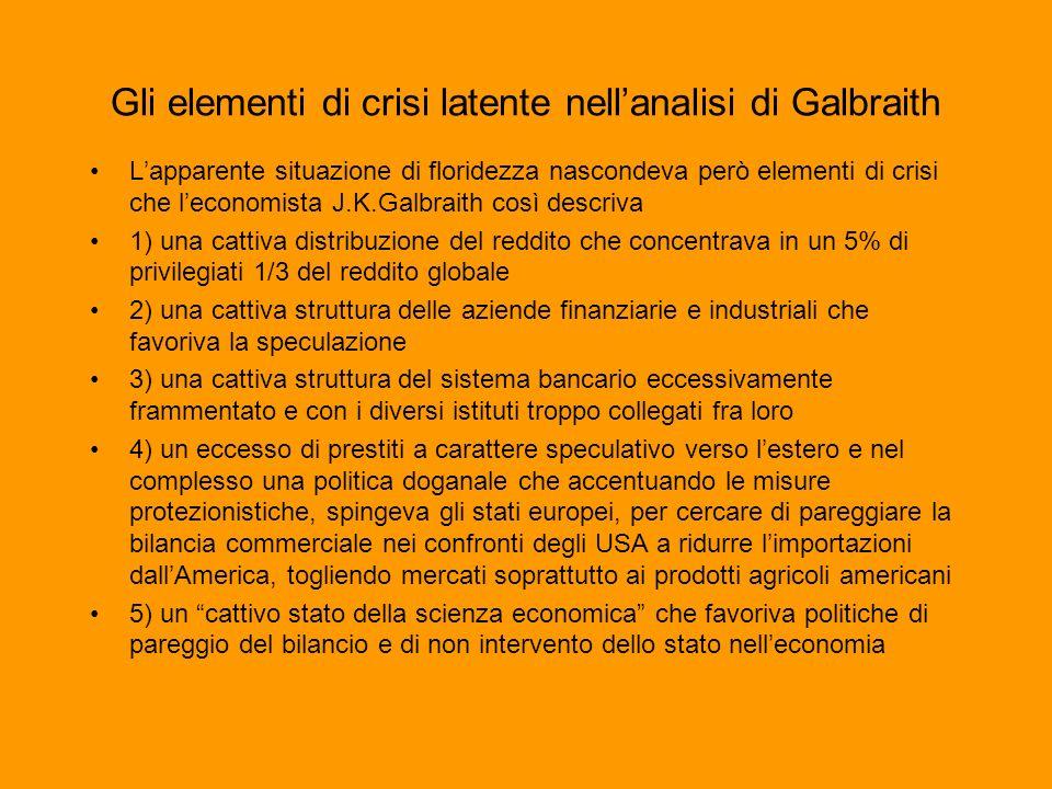Gli elementi di crisi latente nell'analisi di Galbraith