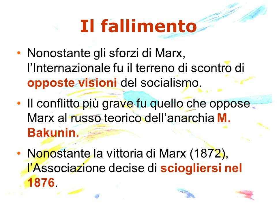 Il fallimento Nonostante gli sforzi di Marx, l'Internazionale fu il terreno di scontro di opposte visioni del socialismo.
