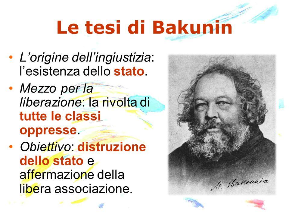 Le tesi di BakuninL'origine dell'ingiustizia: l'esistenza dello stato. Mezzo per la liberazione: la rivolta di tutte le classi oppresse.
